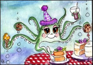 ACEO Art - Watercolor - Octopus Birthday - Patricia Ann Rizzo
