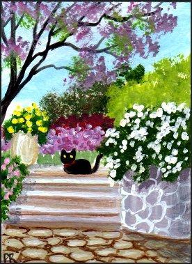 ACEO Art - A Quiet Garden - Patricia Ann Rizzo