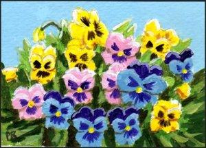 ACEO Art - Pansies - Patricia Ann Rizzo