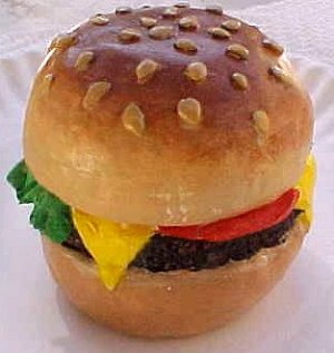 Hamburger Cheeseburger - Hand Made and Hand Painted