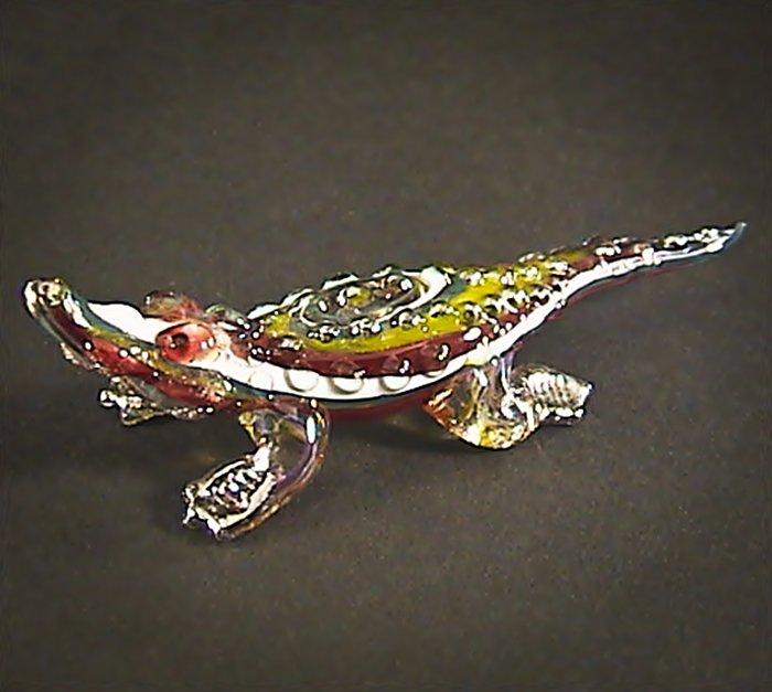 Hand Blown Glass Colorful Crocodile (Alligator) Gilt Art Glass Animal Figurines Thai Gifts