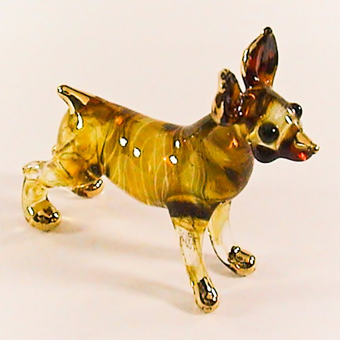 Hand Blown Glass Yellow Chihuahua Dog Gilt Art Glass Animal Figurines Thai Gifts