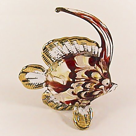 Hand Blown Glass Red-Blue Fish Gilt #2 Art Glass Animal Figurines Thai Gifts