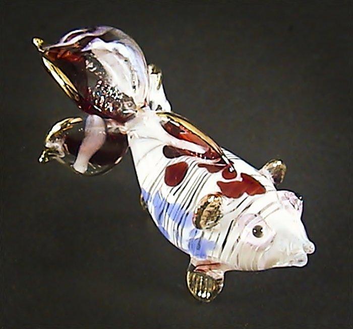 Hand Blown Glass Red-Blue Fish Gilt #4 Art Glass Animal Figurines Thai Gifts