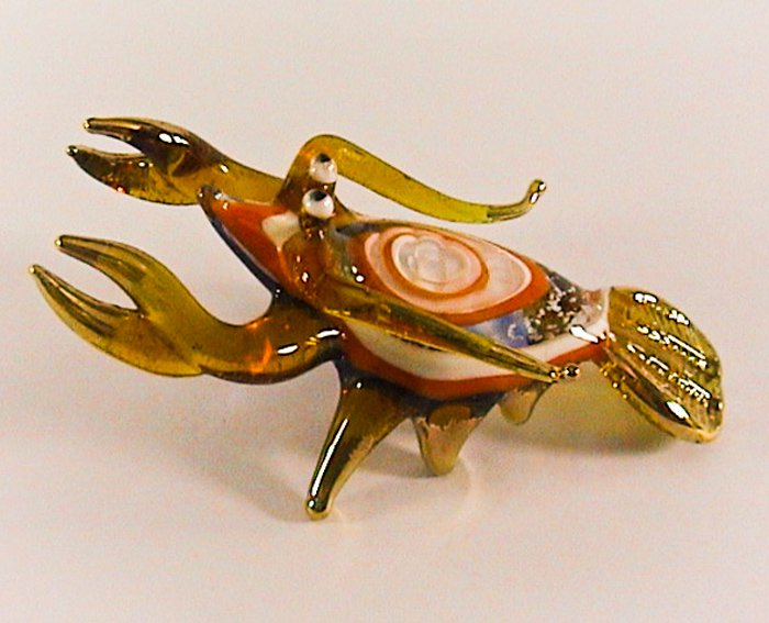 Hand Blown Glass Yellow-White Lobster Gilt Art Glass Animal Figurines Thai Gifts