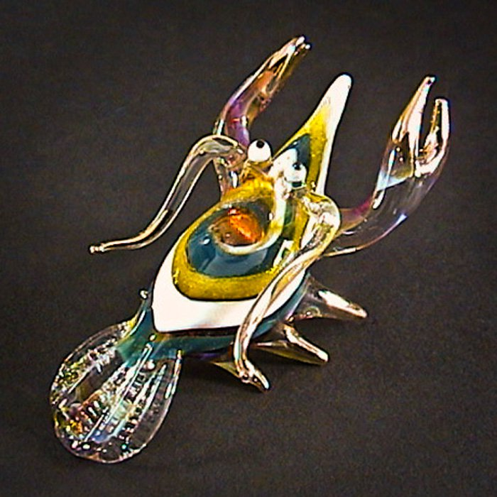 Hand Blown Glass White-Green Lobster Gilt Art Glass Animal Figurines Thai Gifts