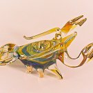 Hand Blown Glass Yellow-Blue Lobster Gilt #2 Art Glass Animal Figurines Thai Gifts