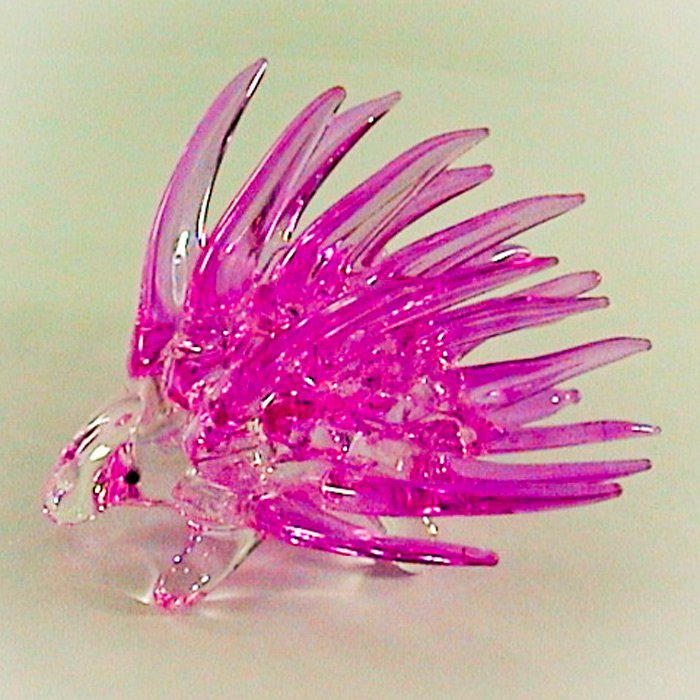 Hand Blown Glass Pink Porcupine Art Glass Animal Figurines Thai Gifts