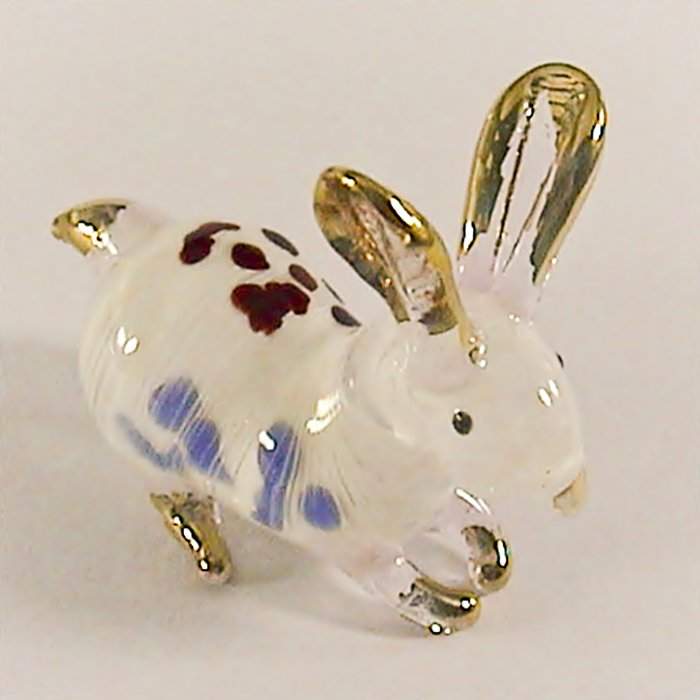 Hand Blown Glass Red-Blue Rabbit Gilt Art Glass Animal Figurines Thai Gifts