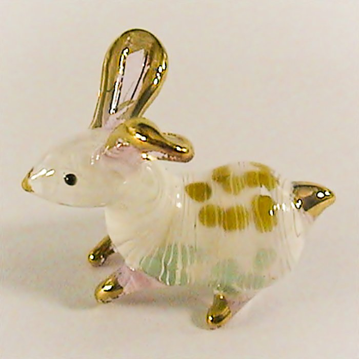 Hand Blown Glass Green-Yellow Rabbit Gilt Art Glass Animal Figurines Thai Gifts