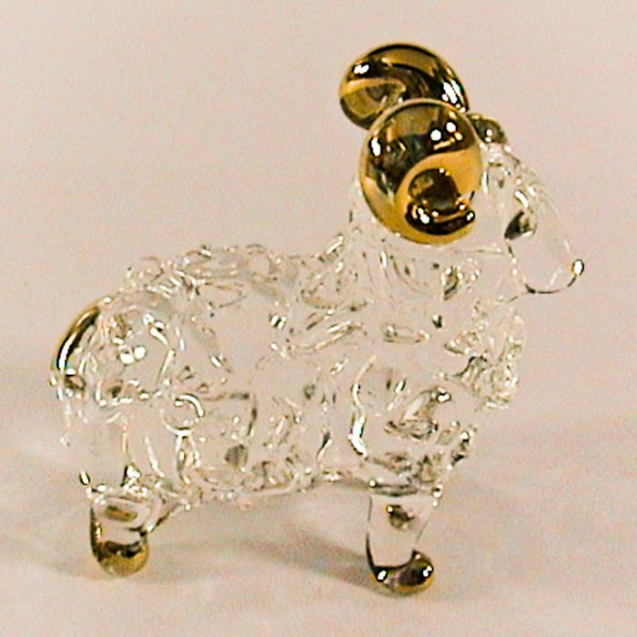 Hand Blown Glass Sheep Gilt Art Glass Animal Figurines Thai Gifts