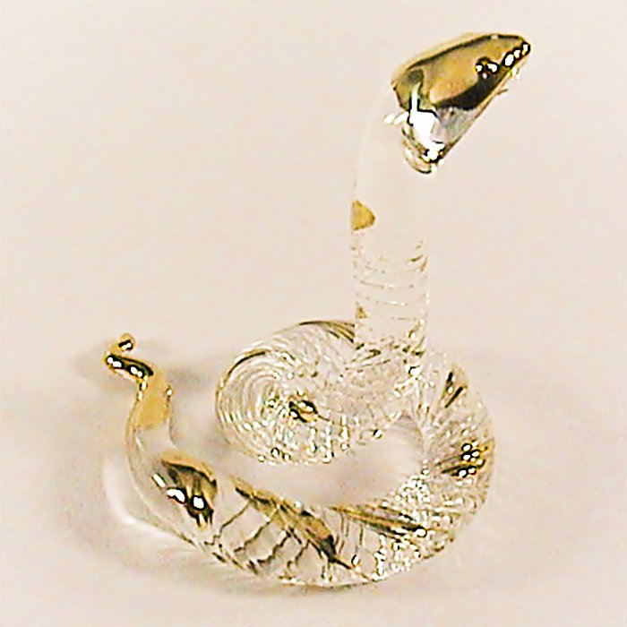 Hand Blown Glass Snake Gilt Art Glass Animal Figurines Thai Gifts