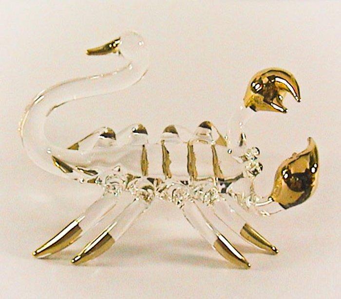 Hand Blown Glass Scorpion Gilt Art Glass Animal Figurines Thai Gifts