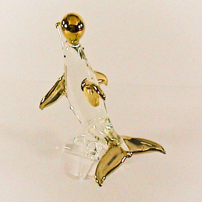 Hand Blown Glass Dolphin Fish Gilt Art Glass Animal Figurines Thai Gifts