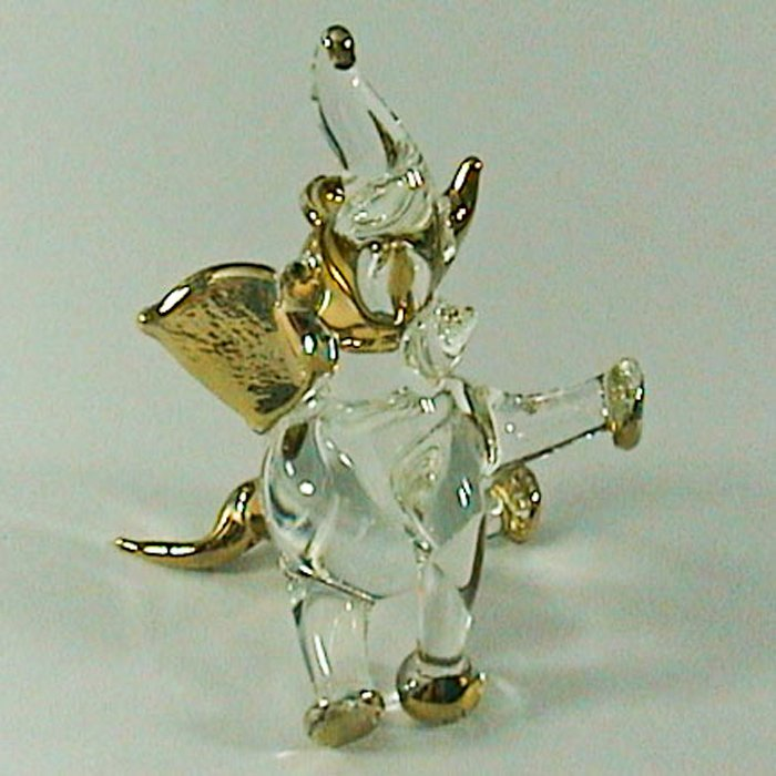 Hand Blown Glass Elephant Gilt Art Glass Animal Figurines Thai Gifts