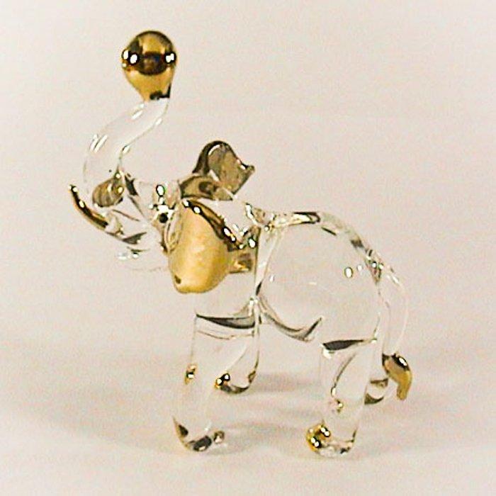 Hand Blown Glass Elephant Gilt 2 Art Glass Animal Figurines Thai Gifts