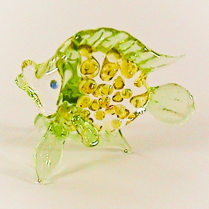 Hand Blown Colored Glass Green-Yellow Fish Art Glass Animal Figurines Thai Gifts