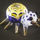 Hand Blown Glass Yellow-Blue Spider Gilt Art Glass Animal Figurines Thai Gifts