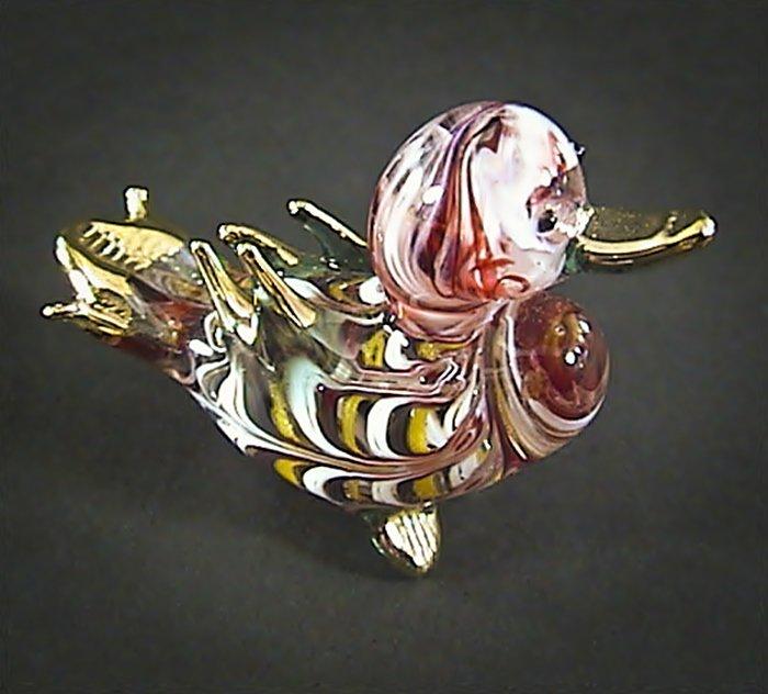 Hand Blown Glass Red Duck Gilt Art Glass Animal Figurines Thai Gifts