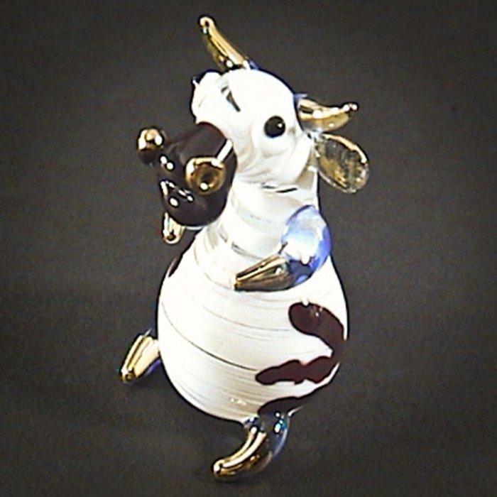 Hand Blown Glass Red-Blue Goat Gilt Art Glass Animal Figurines Thai Gifts