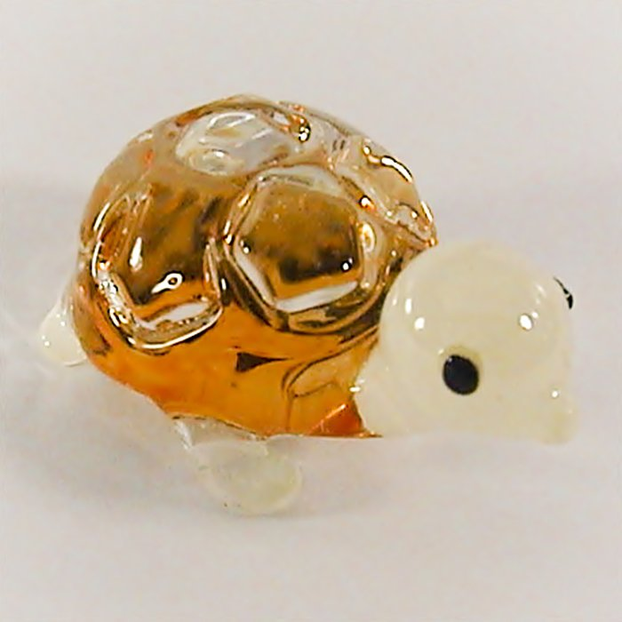 Hand Blown Glass Orange Turtle Art Glass Animal Figurines Thai Gifts