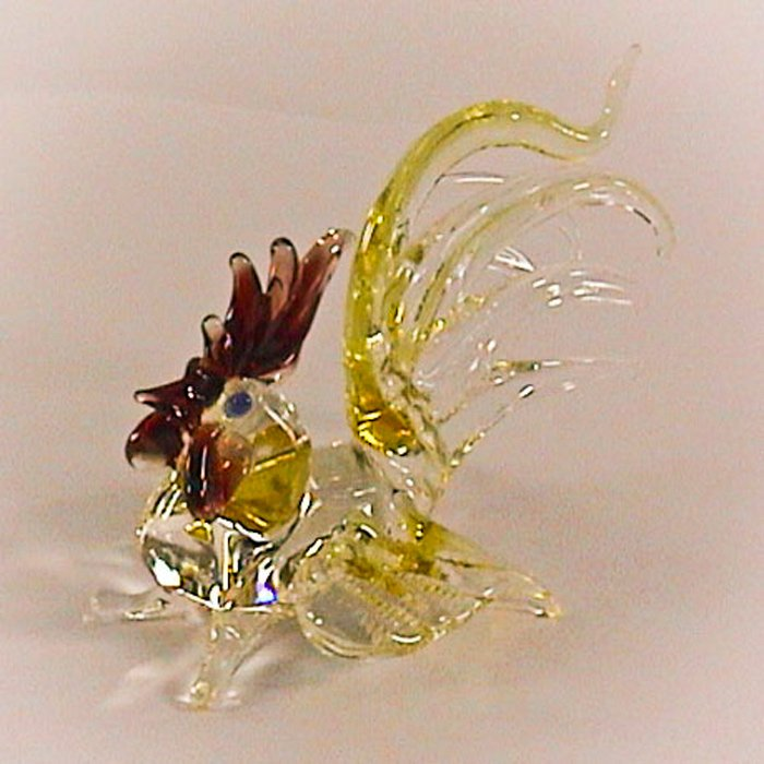 Hand Blown Glass Yellow Rooster Chicken Art Glass Figurines Animals Thai Gifts