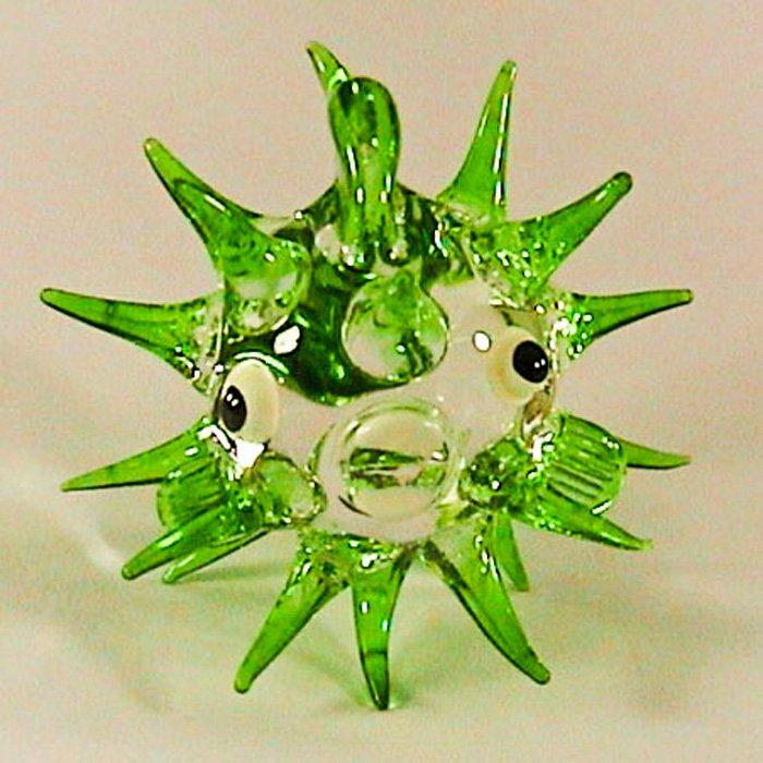 Hand Blown Glass Green Puffer Fish Miniature Glass Animal Figurines Thai Gifts