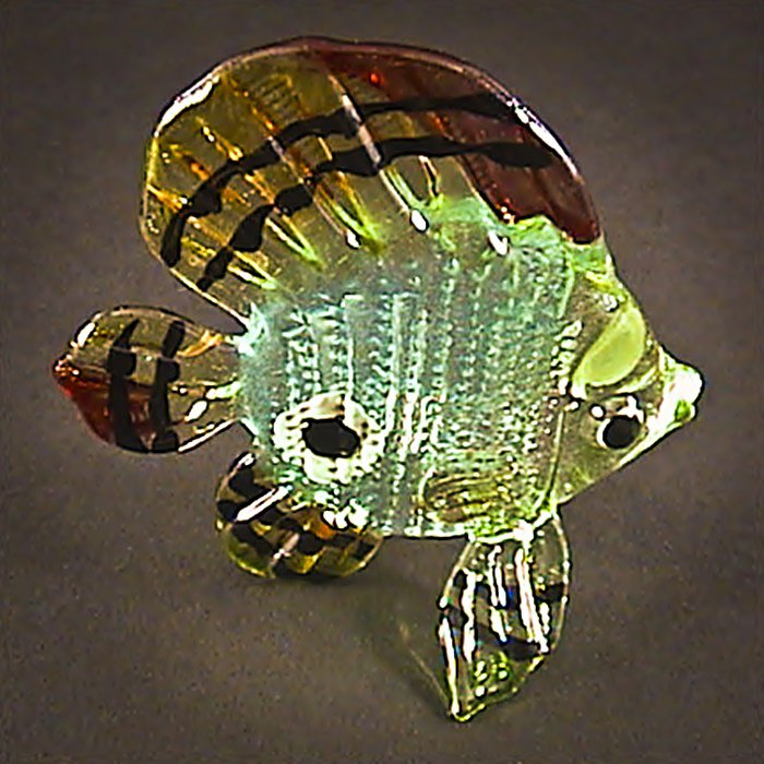 Hand Blown Glass Blue Fish Art Glass Figurines Animals Thai Gifts