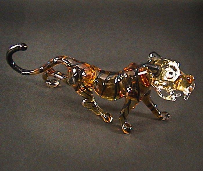Hand Blown Glass Brown Tiger Art Glass Figurines Animals Thai Gifts