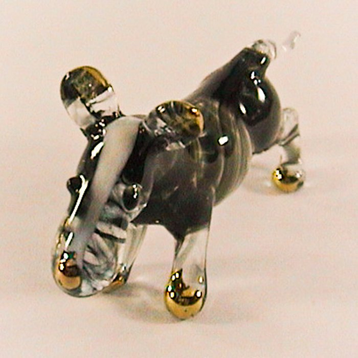 Hand Blown Glass Black Bull Terrier Dog Gilt Miniature Glass Animal Figurines Thai Gifts