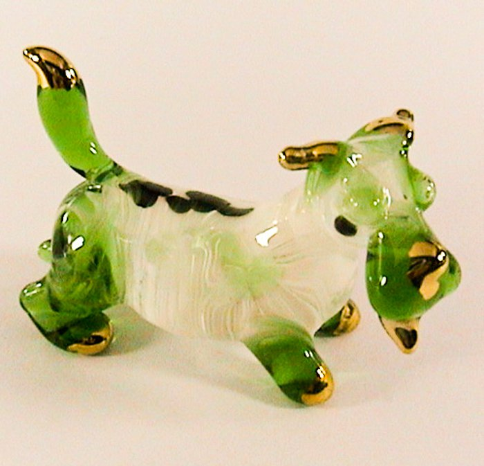 Hand Blown Glass Green Scottish Terrier Dog Gilt Art Glass Figures Animals Thai Gifts