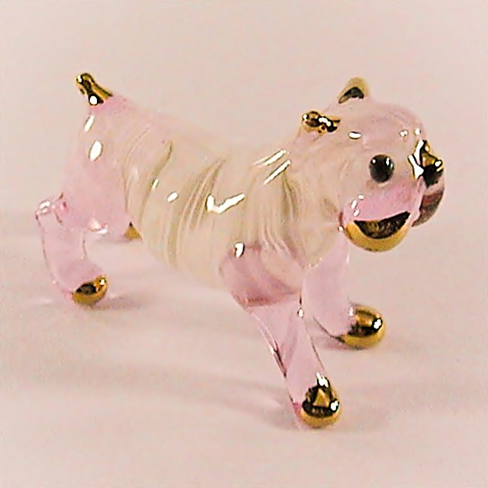 Hand Blown Glass Pink Bulldog Art Glass Figures Animals Thai Gifts