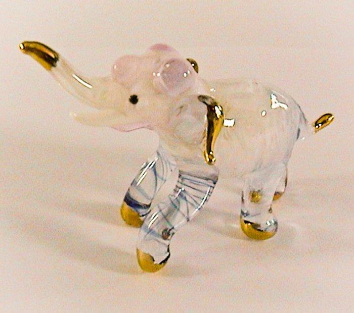 Hand Blown Glass Pink Elephant Gilt Art Glass Figures Animals Thai Gifts