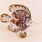 Hand Blown Glass White-Red-Purple Fish Gilt Art Glass Figures Animals Thai Gifts