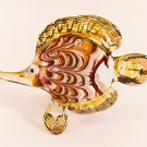 Hand Blown Glass Red-Yellow Fish Gilt 2 Art Glass Animal Figurines Thai Gifts
