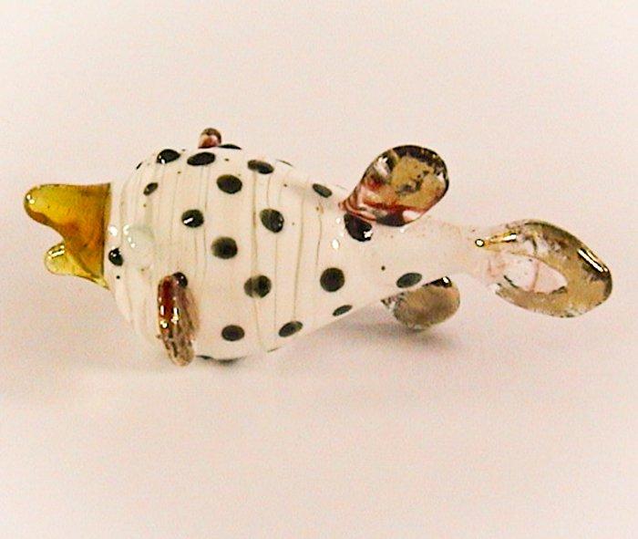 Hand Blown Glass Puffer Fish Black dot Art Glass Animal Figurines Thai Gifts