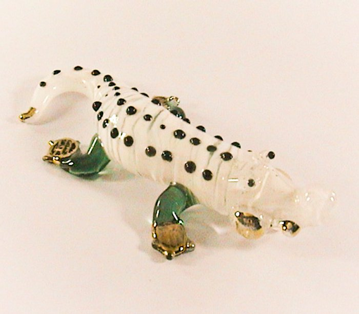 Hand Blown Glass White Crocodile (Alligator) Gilt Art Glass Figurines Animals Thai Gifts