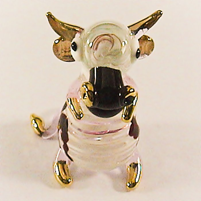 Hand Blown Glass Pink Goat Gilt Art Glass Figurines Animals Thai Gifts