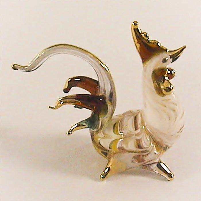 Hand Blowm Glass White-Yellow Rooster Chicken Gilt Art Glass Animal Figurines Thai Gifts