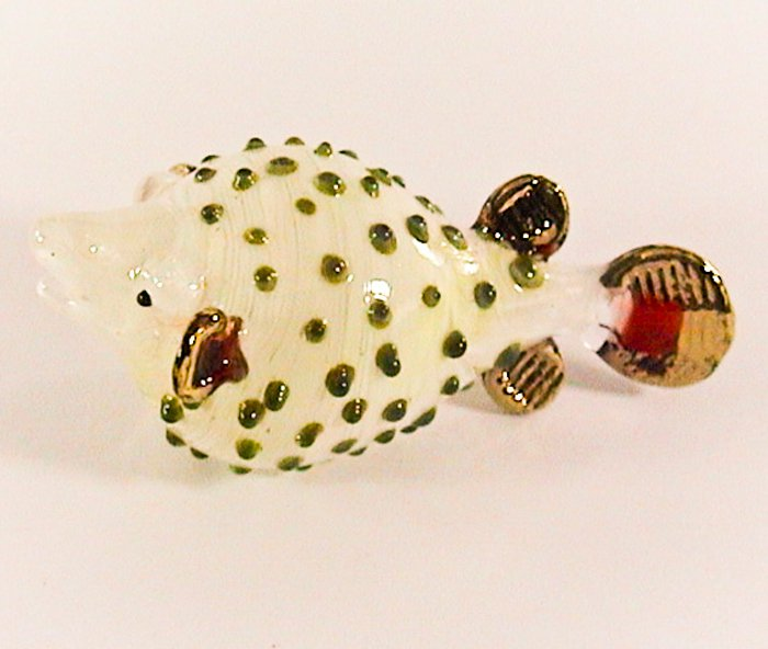 Hand Blown Glass Puffer Fish Green dot Gilt Art Glass Animal Figurines Thai Gifts