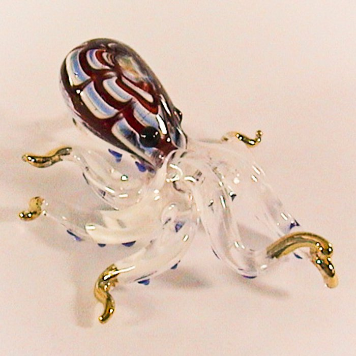 Hand Blown Glass Red Octopus Blue Dot Gilt Art Glass Figurines Animals Thai Gifts