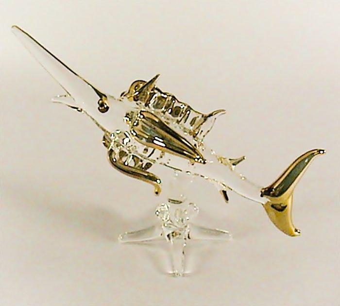 Hand Blown Glass Fish Gilt Art Glass Animal Figurines Thai Gifts