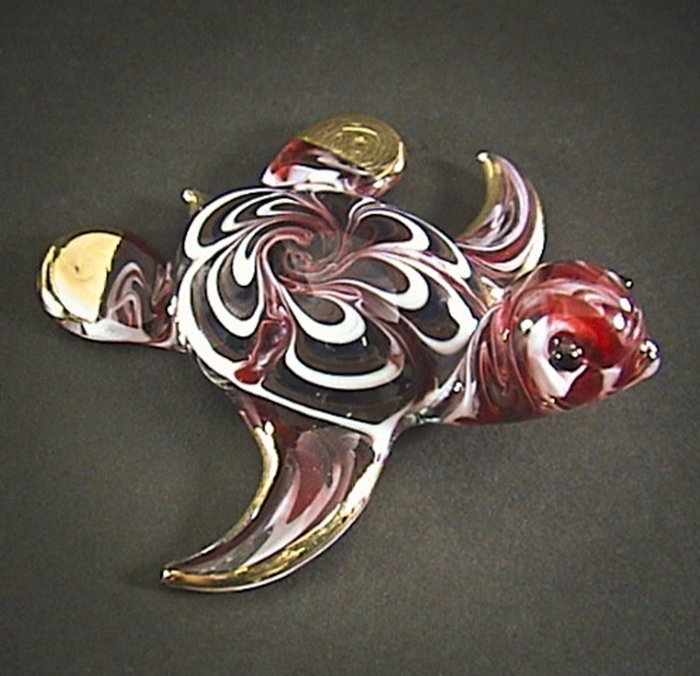Hand Blown Glass Red Turtle Gilt Art Glass Animal Figurines Thai Gifts