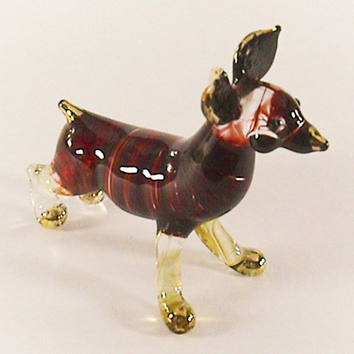 Hand Blown Glass Red Stripe Chihuahua Dog Gilt Art Glass Animal Figurines Thai Gifts