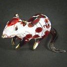 Hand Blown Glass Red Mouse Gilt #2 Art Glass Animal Figurines Thai Gifts