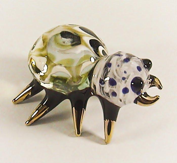 Hand Blown Glass Yellow Spider Gilt #3 Miniature Glass Animal Figurines Thai Gifts