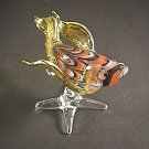 Hand Blown Glass Orange-Yellow Fish Gilt (with a base) #2 Art Glass Animal Figurines Thai Gifts