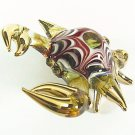 Hand Blown Glass Red-Yellow Crab Gilt #3 Art Glass Animal Figurines Thai Gifts