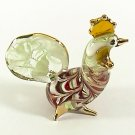 Hand Blown Glass Red-Green Hen Chicken Gilt Art Glass Animal Figurines Thai Gifts