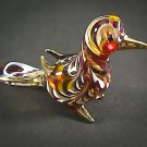 Hand Blown Glass Red-Yellow Bird Gilt Art Glass Animal Figurines Thai Gifts
